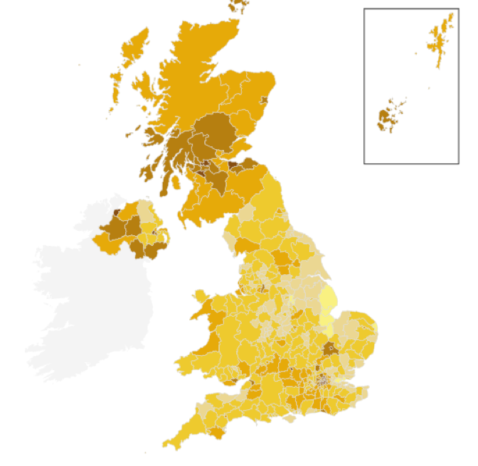 Vote share for Remain, UK European Union referendum, 23.06.2016. [Source: BBC News online map. Lightest shades: lowest Remain vote share. Darkest shades: highest Remain share]