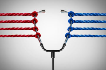 Image of stethoscope tugged in one direction by red strings and in other by blue strings.